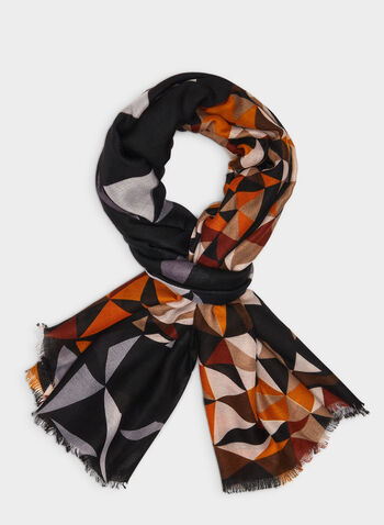 Mosaic Print Scarf, Brown, hi-res,  lightweight scarf