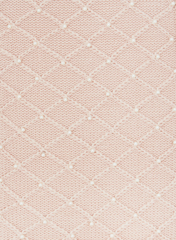 Karl Lagerfeld Paris – Pearl Embellished Knit Scarf, Pink, hi-res
