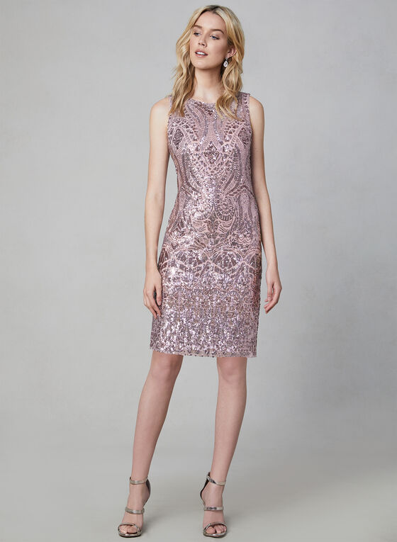 Vince Camuto - Robe fourreau à sequins, Rose