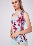 Floral Print Sleeveless Top, Blue, hi-res