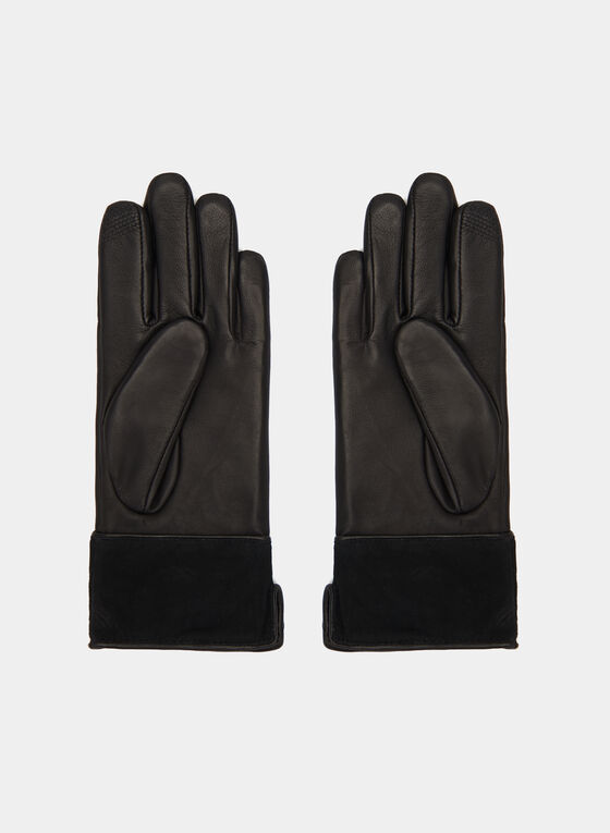Suede Trim Leather Gloves, Black, hi-res