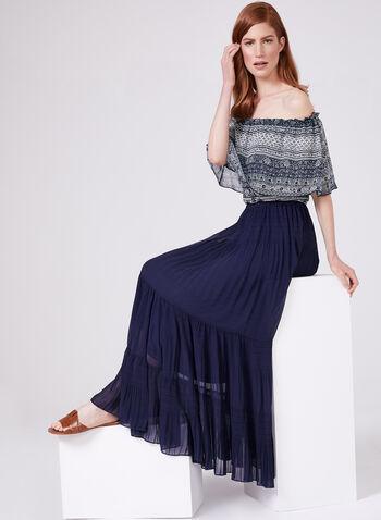 Alison Sheri - Jupe maxi en mousseline à effet plissé, Bleu, hi-res