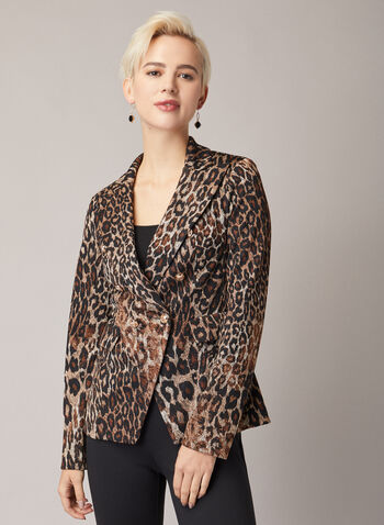 Joseph Ribkoff - Leopard Print Blazer, Black,  blazer, buttons, leopard, jersey, fall winter 2020