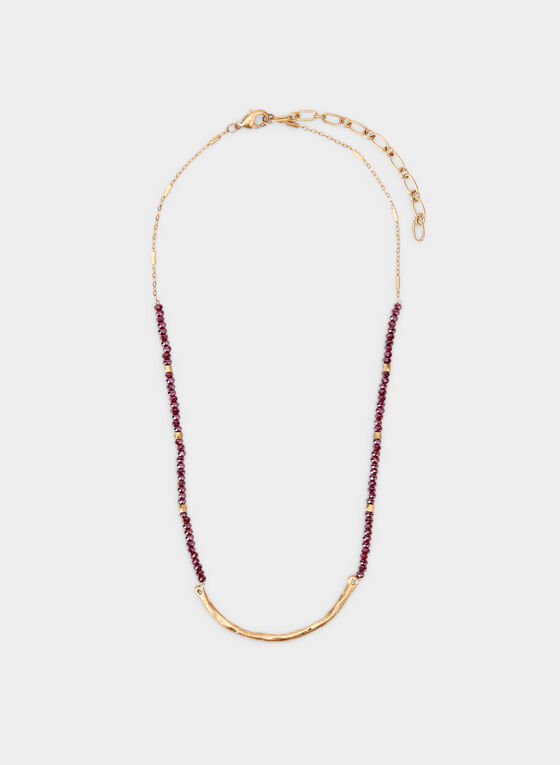 Short Bead Necklace, Red, hi-res