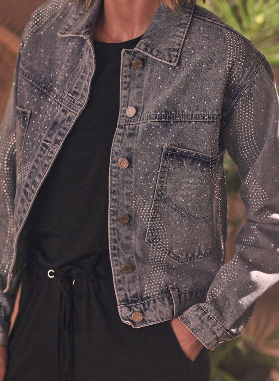 Joseph Ribkoff - Veste en jean à détails cloutés, Bleu