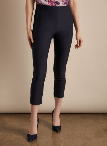 Zipper Hem Pull-On Capris, Blue,  capris, pull-on, ankle zipper, pockets, bengaline, stretchy, spring summer 2020