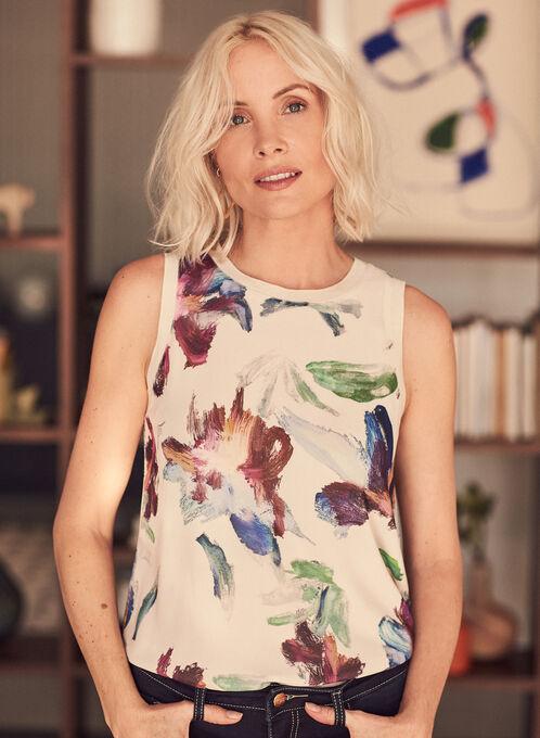 Haut à motif floral abstrait , Blanc