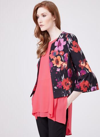 Open-Front Floral Print Jacket, Multi, hi-res