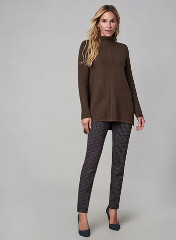 Knit Tunic Top, Brown,  knit, sweater, tunic, long sleeves, fall 2019, winter 2019