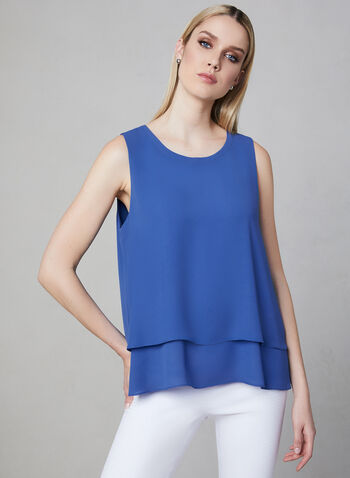 Sleeveless Crepe Top, Blue, hi-res,  Spring 2019, sleeveless, crepe, layering piece