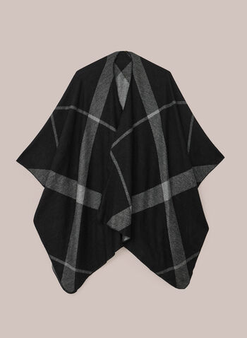 Plaid Print Shawl, Black,  shawl, plaid, fall winter 2020