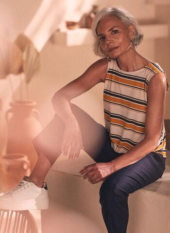 Haut rayé à ourlet noué, Jaune,  sans manches, encolure ronde, rayures, imprimé, motif, motifs, jersey, automne hiver 2019