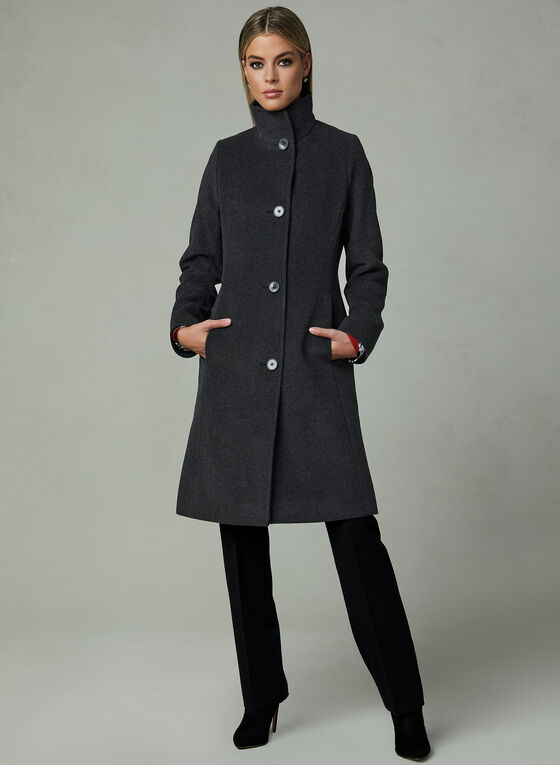 Mallia - Mid Length Cashmere Blend Coat, Grey, hi-res