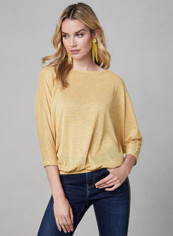 Striped Dolman Sleeve Top, Gold, hi-res,  Canada, stripe print, 3/4 sleeves, dolman sleeves, fall 2019, winter 2019