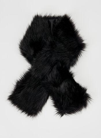 Faux Fur Wrap, Black, hi-res