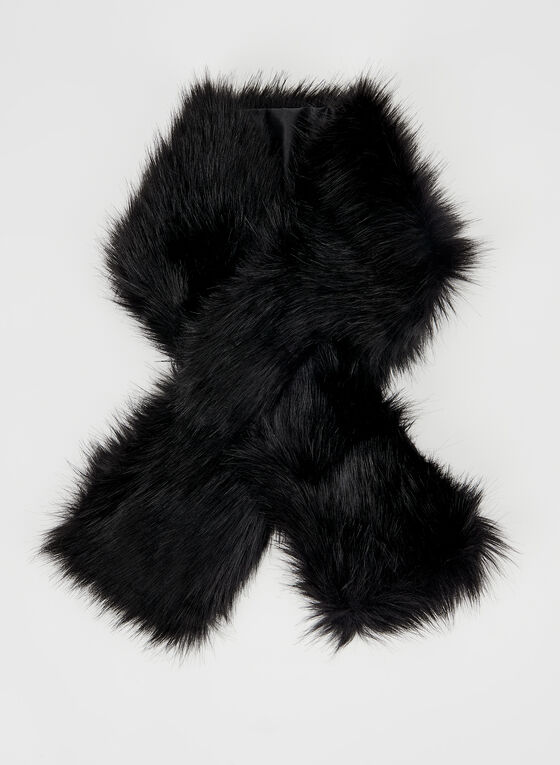 Faux Fur Wrap, Black, hi-res
