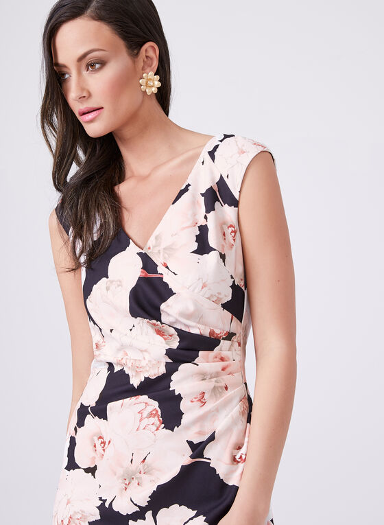 Adrianna Papell - Floral Print Draped Pencil Dress, Multi, hi-res
