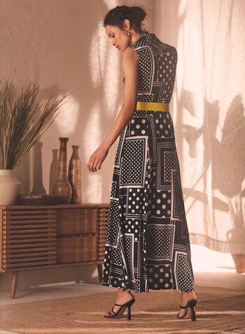 Joseph Ribkoff - Geometric Print Day Dress, Black,  dress, day, maxi, geometric, belted, sleeveless, button front, shirt collar, ribkoff, lyman, spring summer 2021
