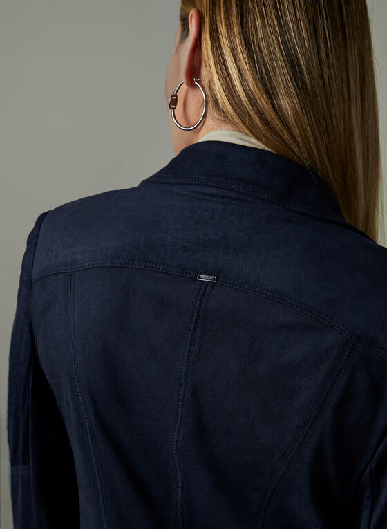Vex - Veste en faux suède à zip, Bleu, hi-res
