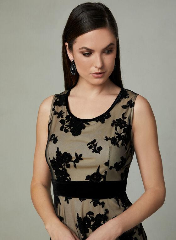 Taylor - Sleeveless Flocked Velvet Dress, Black, hi-res