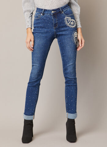 Embellished Rhinestone Slim Leg Jeans, Blue,  fall winter 2020, black friday, jeans, slim leg, embellished, pearl, paisley, rhinestone, stud, detail, shine, bead, stone wash, rolled, cuffed, fashion denim, comfort, crystal