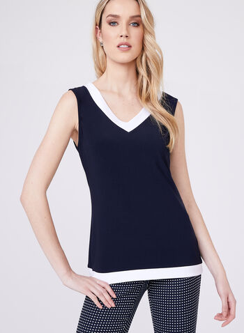 Frank Lyman - Sleeveless Jersey Top, Blue, hi-res
