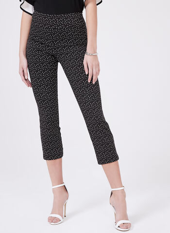 Pull-On Graphic Print Capris, Black, hi-res