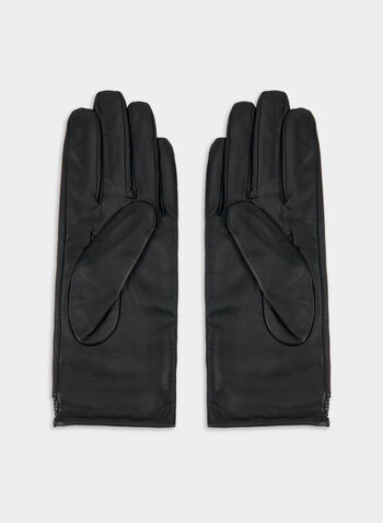 Leather Gloves, Black, hi-res,  canada, leather, gloves, classy, snakeskin trim, fall 2019, winter 2019