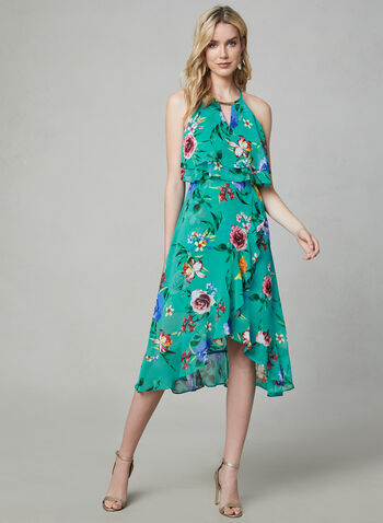 Kensie - Floral Print Popover Dress, Blue, hi-res,  chiffon, sleeveless, midi dress, halter neck, high low, asymmetric, ruffles, spring 2019, summer 2019