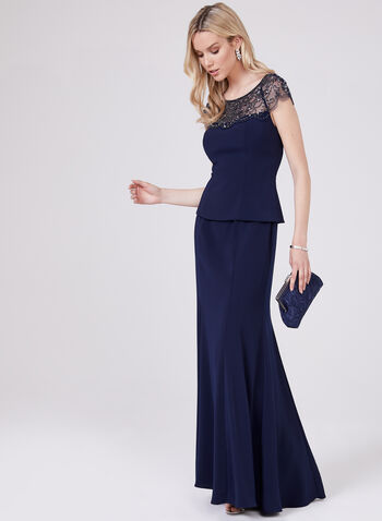 BA Nites – Beaded Illusion Neck Gown, Blue, hi-res