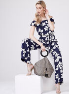 Adrianna Papell - Floral Print Belted Jumpsuit, Blue, hi-res