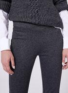 Pantalon pull-on effet chiné à jambe étroite, Gris, hi-res