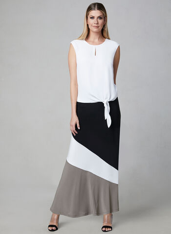 Colour Block Pull-On Skirt, Black, hi-res