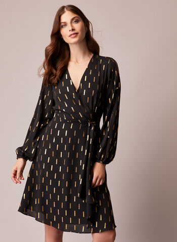 Gold Print Detail Dress, Black,  fall winter 2020, dresses, printed, wrapped, details, V-neck, holiday, holiday 2020, gifts, muslin