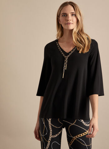 Frank Lyman - Chain Detail Jersey Top, Black,  top, v-neck, flared, elbow sleeves, chain, jersey, spring summer 2020