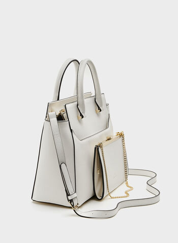 CÉLINE DION -  Structured Saffiano Handbag , White, hi-res