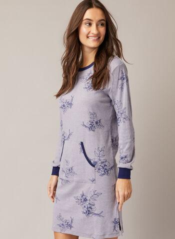 Robe de nuit à poche kangourou, Gris,  automne hiver 2020, pyjama, robe de nuit, chemise de nuit