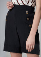 Button Front Shorts, Black, hi-res