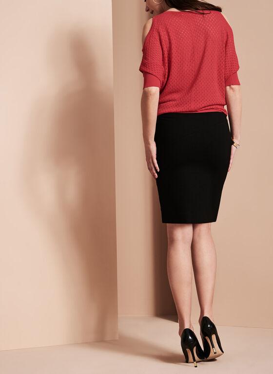 Pull-On Panelled Skirt, Black, hi-res