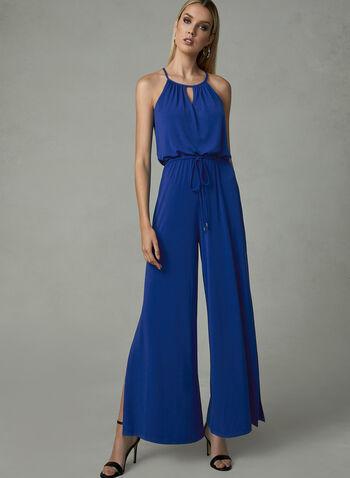 Maggy London - Combinaison à jambe large en jersey, Bleu, hi-res