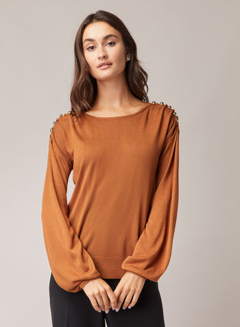 Button Detail Balloon Sleeve Sweater, Brown,  sweater, balloon sleeves, button details, knit, scoop neck, fall winter 2020