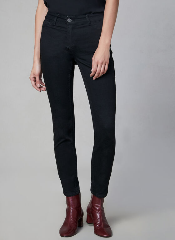 Reversible Slim Leg Jeans, Black