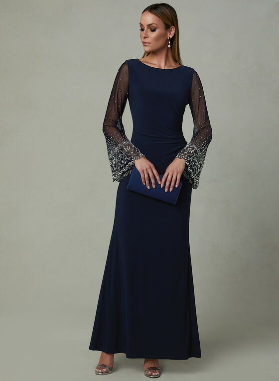 Cachet - Beaded Illusion Sleeve Dress, Blue, hi-res