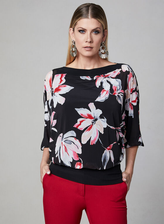 Floral Print Dolman Sleeve Top, Black, hi-res