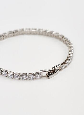 Bracelet rigide à cristaux, Argent, hi-res