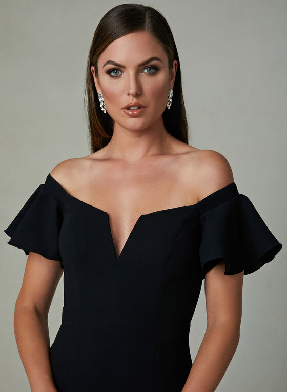 BA Nites - Off the Shoulder Gown, Black, hi-res