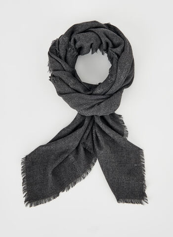 Square Metallic Accent Scarf, Black, hi-res