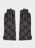 Plaid Print Sheep Leather Gloves, Black