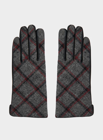 Plaid Print Sheep Leather Gloves, Black, hi-res,  gloves, leather gloves, sheep leather, leather, plaid print, fall 2019, winter 2019