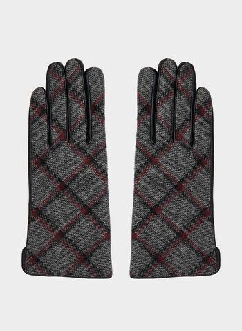 Plaid Print Sheep Leather Gloves, Black,  gloves, leather gloves, sheep leather, leather, plaid print, fall 2019, winter 2019